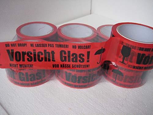 6 Rollen Klebeband Vorsicht Glas 66 lfm lang! 48mm 6-144 Rollen Zerbrechlich Sonderpreis (6)