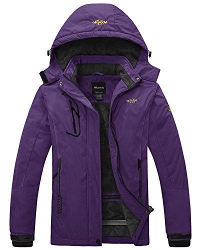 Wantdo Damen bergwasserdichte ski-jacke windundurchlässiges regen jacke Dark Lila Small