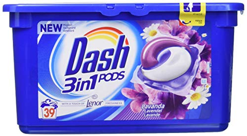 Dash PODS 3in1 Waschmittel Waschmaschine in Lavendel und Kamille Einzeldosen,117 Wäschen, 3 x 39 Kapseln
