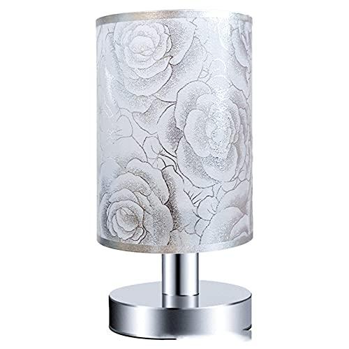 Lámpara de mesa minimalista lámpara de cabecera botón creativo LED lámpara de mesa estilo europeo salón lámpara decorativa dormitorio, plata rosa