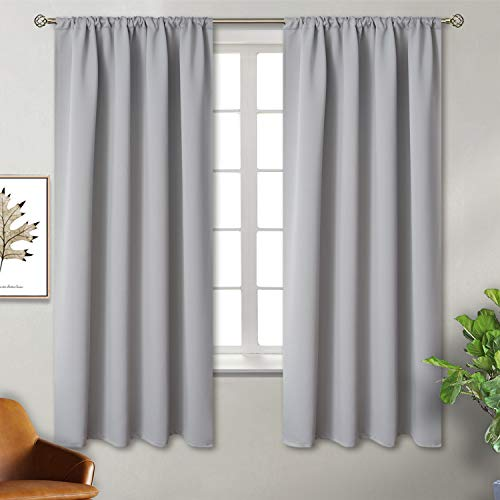 BGment Rod Pocket Blackout Curtains for Bedroom - Thermal Insulated Room Darkening Curtain for Living Room, 42 x 63 Inch, 2 Panels, Light Grey