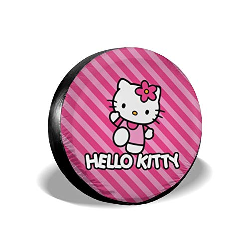 Cartoon Anime Cute Hello Kitty Pint Strip Line Spare Tire Covers Universal Tire Cover Dust-Proof Waterproof Wheel Covers for Jeep, Trailer, RV, SUV, Truck and Many Vehicle Wheel Diameter-17 inch
