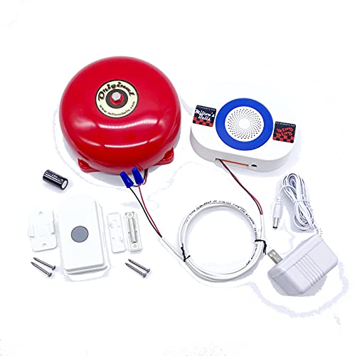 Milton's Bells Warehouse Doorbell and Wireless Chime Kit including Pushbutton Transmitter, Original Alarm Bell, and Door Chime with Built-in Volume Control