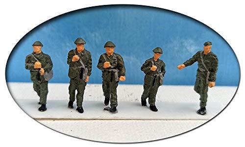 modellbahn-exklusiv NVA, 1 Unteroffizier mit 4 Soldaten, Spur H0, 1:87