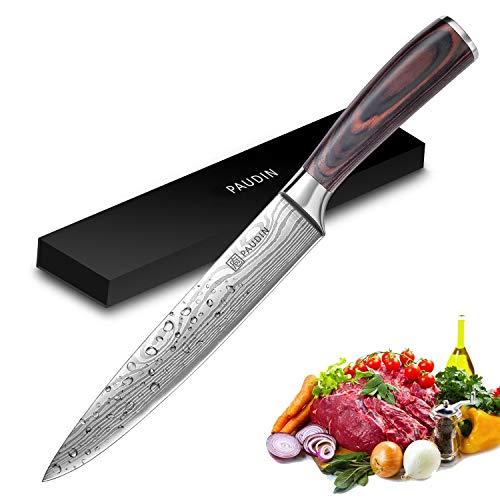 Slicing Carving Knife - PAUDIN Razor Sharp Sashimi Knife, 8 Inch Nonstick Sushi Knife, High Carbon...