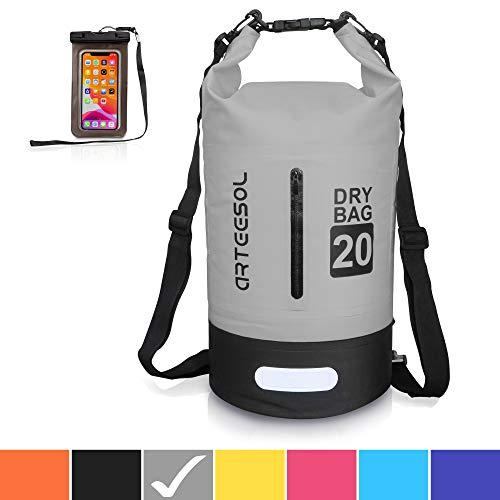arteesol Wasserdichte Tasche 5L/10L/20L/30L Dry Bag Rucksack mit Doppel-Schultergurt Rucksack für Schwimmen, Kajak, Bootfahren, Angeln, Reisen, Radfahren, Strand, 10grau, 10L