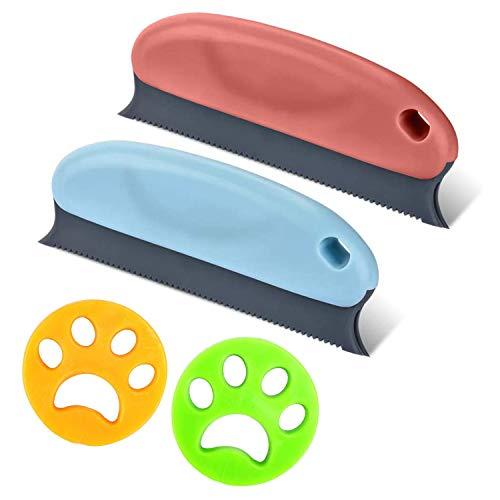 Dokkita Tierhaarentferner, Fusselentferner + 2 Waschmaschinen-Haarfänger, Waschbare Wiederverwendbare Tierhaarentfernungsbürste für Sofa/Teppich/Auto/Bett/Kissen/Möbel/Kleidung/Haustiernester