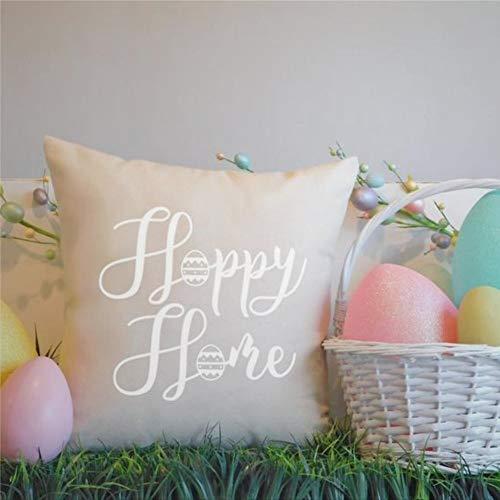 EricauBird Hoppy Home - Funda de cojín para decoración del hogar, color beige