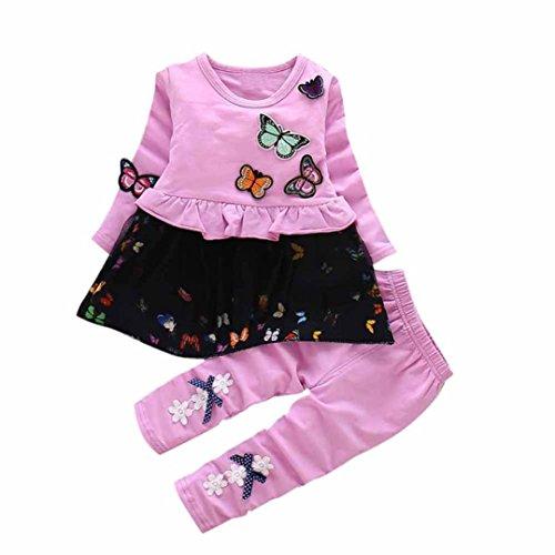 Babykleidung Kleinkind Kinder Baby Mädchen Outfits Hoodie Tops + Hosen Outfit Kleidung Set Shirt Mädchen Jungen Kinderbekleidung Blumen Ballettröckchen T-Shirt (3M-18M) LMMVP (Lila, M(18M))