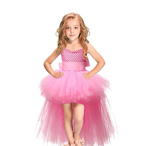 YWLINK Vestido De Princesa De Navidad Halloween NiñAs Falda De Ballet Honda Tutu De Gasa Esmoquin EspectáCulo De Danza Rendimiento Regalo Fiesta Falda De Baile(Rosado,5-6 años)