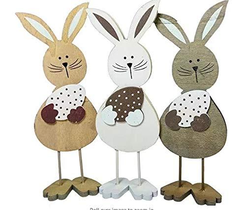 ONET Decoración de Pascua, 3 piezas, conejos de Pascua, adorno de madera, artesanía, día de Pascua, lindos conejos, juguetes para niños, decoración de casa de vacaciones