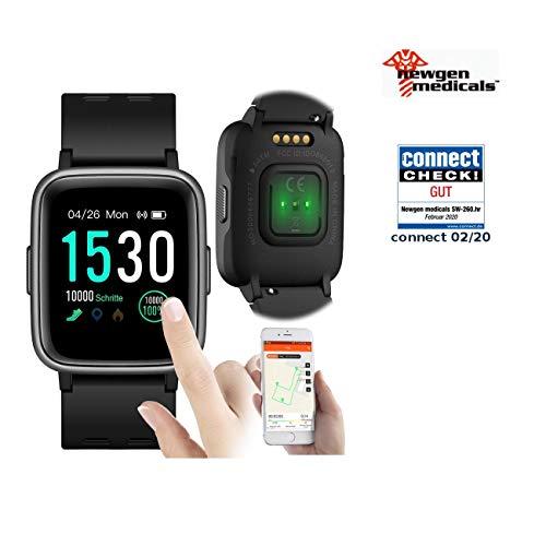 Newgen Medicals Fitness-Uhr wasserdicht: Fitness-Uhr, Touch-Screen & Herzfrequenz-Anzeige, Bluetooth, 5 ATM (Uhr GPS-Streckenaufzeichnung)
