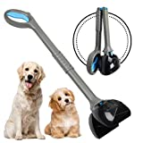 Chrider Non-Breakable Pet Pooper Scooper for Large and Small Dogs, Long Handle Portable Dog Pooper Scooper, Foldable Dog Poop Waste Pick Up Rake(Blue)