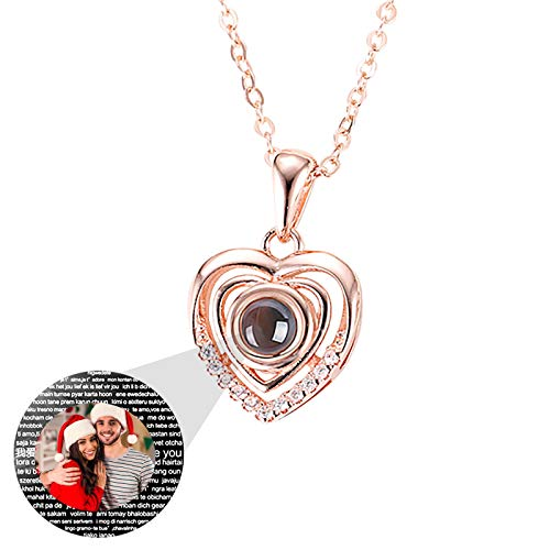 Custom Projection Necklace Personalized Photo Necklace 100 Languages Heart Necklace I Love You Necklace Personalized Woman Pendant Anniversary Birthday for Women(Rose Gold Full Color 18)