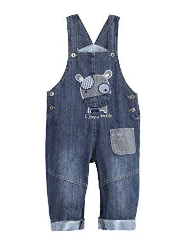 Camilife Baby Jungen Mädchen Jeans Latzhose Strampler Overall Weiche Baumwolle Denim Hose Dünn für Frühling Sommer I Love Milk Pattern Größe 86-92