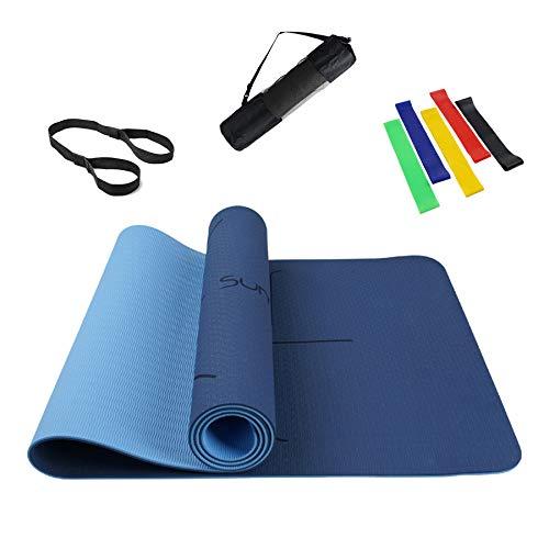 Summer Mae Tappetino Yoga Antiscivolo, Yoga Mat TPE da 6 mm a Doppia Faccia, Fitness Pilates e Ginnastica 183 × 61 cm Dark Blue