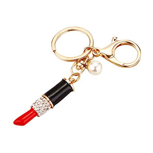 FFAA Lippenstift Auto Schlüsselbund Anhänger Metall Schlüsselanhänger Ring Geschenk-5