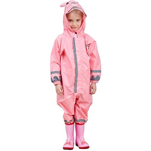 Majing Regenbekleidung- Einteiliger Atmungsaktiver Poncho Mit Kapuze Für Kinder, Jungen Und Mädchen, Kindergarten 3-10 Jahre, Regenmantel 100% Wasserdicht (Farbe: Pink) (Size : S)