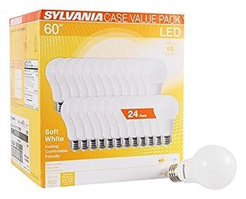 SYLVANIA LED A19 Light Bulb 60W Equivalent Efficient 8.5W Medium Base 750 Lumen Frosted 2700K Soft White 24 pack