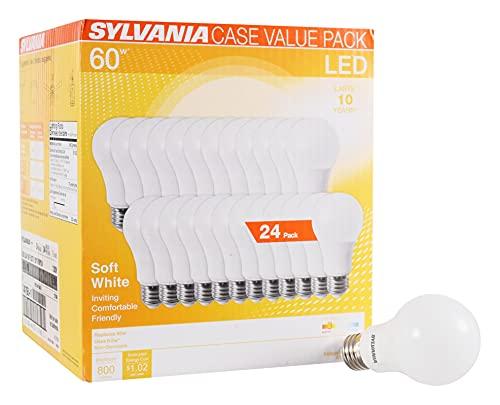 SYLVANIA LED A19 Light Bulb, 60W Equivalent, Efficient 8.5W, Medium Base, 750 Lumen, Frosted 2700K Soft White, 24 pack