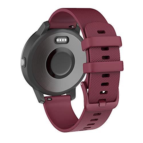 Isabake Armband fürGarmin Vivoactive 3/3 Music/HR Quick-Fit Uhrenarmband fürForerunner 245 645 Music Galaxy Active 2 Schnellwechsel BreiteSilikon Smartwatch Ersatzarmbänder 20mm (Rotwein)