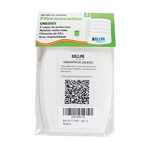 [ENVÍOS EN 24H] KALLPA 5 filtros para mascarillas UNE0065 - REUTILIZABLES - fabricados en ESPAÑA - hidrófobo,...