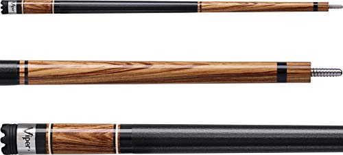"""Viper by GLD Products Naturals 58"""" 2-Piece Billiard/Pool Cue, Zebrawood, 18 Ounce (50-0604-18)"""