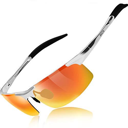 DUCO Herren Sportbrille Polarisierte Sonnenbrille Fahrerbrille 8177S (Silber, Schillerndes Rot)