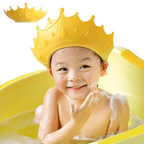 FUSACONY Gorro de Ducha Bebé, Ajustable para Gorro de Ducha para Bebés Gorro de Baño para Bebés, Protege Los ojos y las orejas para Niños,Visera Baño Bebé, de 6 Meses a 9 Años, Corona (Amarillo)