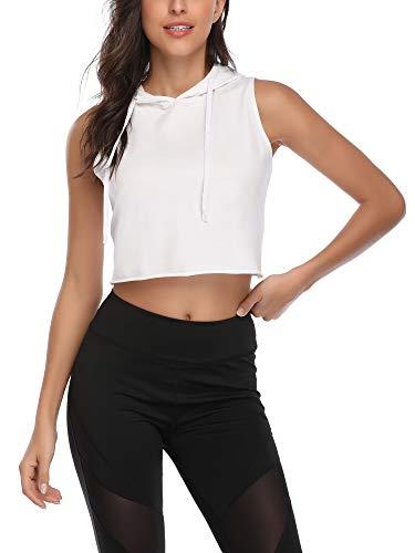 MSBASIC Crop Top - Sudadera deportiva con capucha para mujer, con cordón y cuello Blanco S