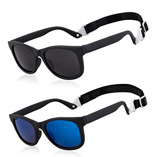 MAXJULI Baby Infant Sunglasses Safe, Soft, With Adjustable Strap 0-24 Months BPA Free (Black/Black+Black/Blue)