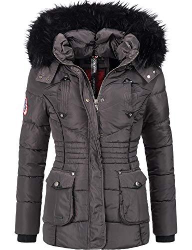 Marikoo Damen Winter Jacke Steppjacke Vanilla Anthrazit Gr. XL
