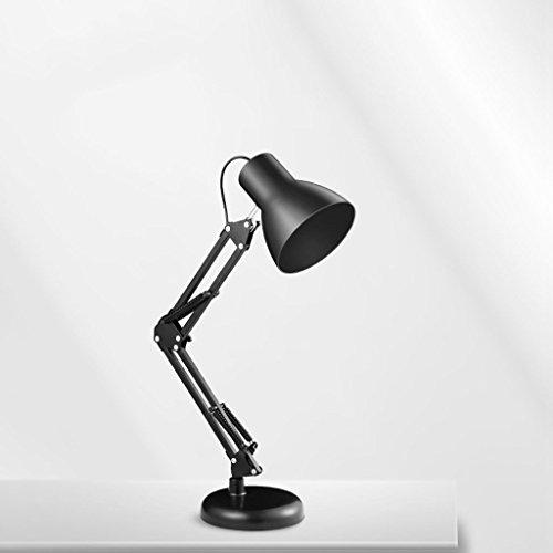 180 °, lampe en fer à rotation libre à 360 °, lumière de bureau à apprentissage lumière simple noire
