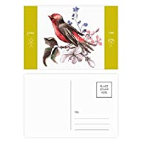 鳥の花の枝 友人のポストカードセットサンクスカード郵送側20個