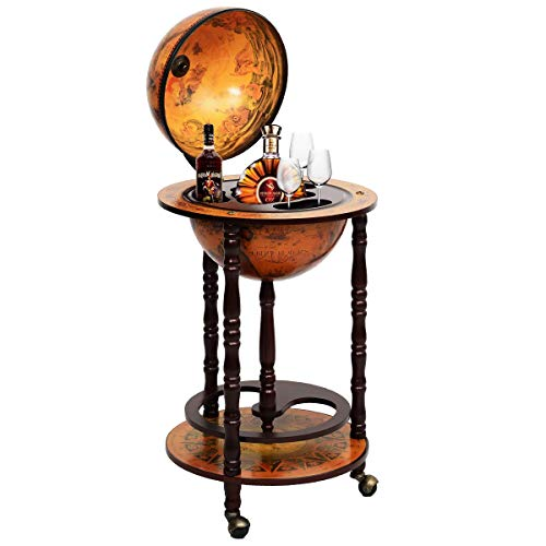 Multigot 360MM Wood Globe Wine Cabinet Bottle Storage Rack with Wheels That can be rotated Through 360 Degrees