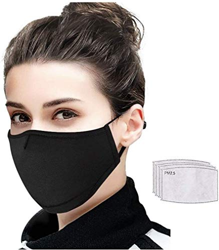 Envybl Adult Face Mask with 5 layer Replaceable Mesh Filter Inserts - Adjustable Full Mouth Nose Cover - 3D Design for Face - PM 2.5 Filters for Replacement for Dust - Black Washable Reusable Cotton