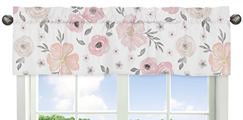 Blush Pink, Grey and White Window Treatment Valance for Watercolor Floral Collection by Sweet Jojo Designs
