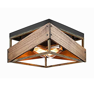 Flush Mount Light Fixture, Industrial Ceiling Lighting Fixtures 2-Light Metal and Wood Square Ceiling Lamp for Farmhouse Rustic Hallway Living Dining Room Bedroom Kitchen Entryway