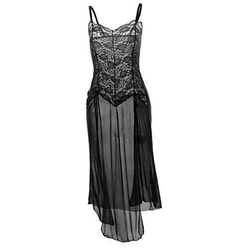 Boowhol Damen Reizwäsche Lingerie Sexy Sling Versuchung Transparent Hot Reizvolle Dessous Rückenfreies Kleid Abendanzug Nachtmäntel mit G-String, Übergröße-größe S-5XL (5XL, Schwarz)