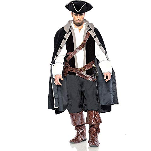 Seeing Red Pirate Captain Costume for Adults, Size Large, Includes a Shirt, a Cape, a Hat, Boot Covers, and a Belt Bag