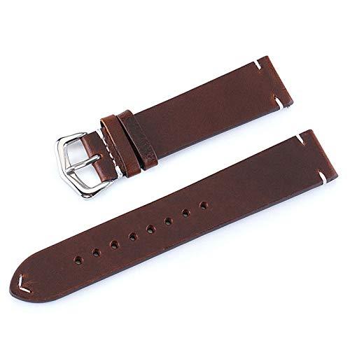 LINMAN Cinturón de Cuero Hecho de Cuero Hombres y Mujeres Modelos de 18 mm 20 mm 22 mm 22 mm Reloj Reloj Retro con Correa de Cuero de Alta Gama (Band Color : Black Brown, tamaño : 24mm)