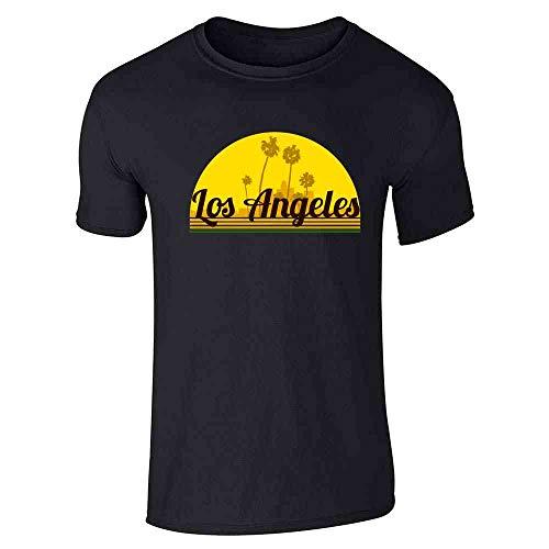Los Angeles California Retro Sunset Travel Black M Graphic Tee T-Shirt for Men