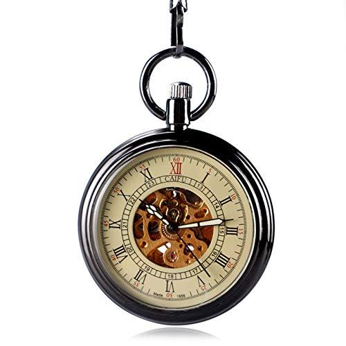 LLXXYY Halskette Taschenuhr Vintage Herren Damen Weihnachten Geschenk Unisex,Neuheit Einfache Open Face Taschenuhr Mechanisch Mit Automatikaufzug Glatte Stilvolle Uhr Kette Frauen Männer Uhren GIF