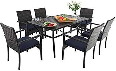 Sophia & William Outdoor Patio 7 Pieces Dining Set with 6 Brown PE Rattan Chairs and 1 Rectangle Metal Table, Modern Outdoor Dining Furniture with Seat Cushions for Poolside, Porch, Patio, Balcony