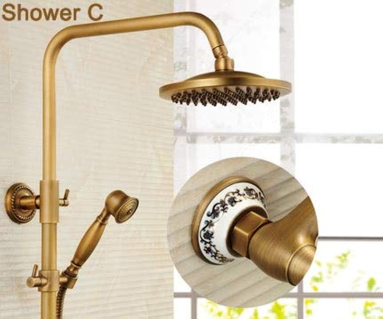 Bad Retro Duschset Wasserhahn + Wannenmischbatterie + Handbrause + Wanneneinlauf Antik Messing Mischbatterie Doppelgriffe Wandmontage, C