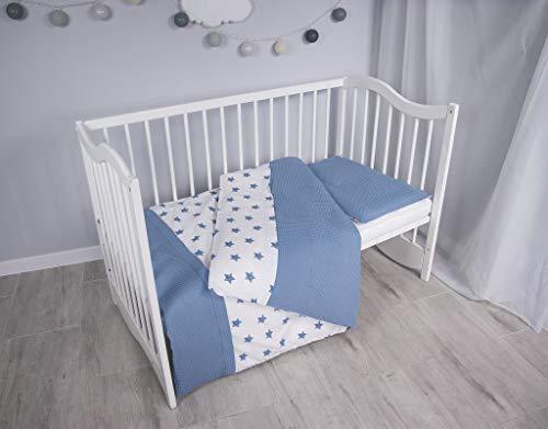 MoMika Bettwäsche Kinderbettwäsche Bettset 2-teilig Kissenbezug und Bettbezug. Oberstoff Waffelpique 100% Baumwolle. Passend für Kinderbetten 70x140 cm (Blue-Stars)