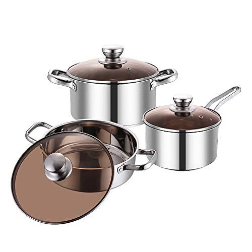 Sarteles de Pan Tres piezas de tapa de la olla olla de acero