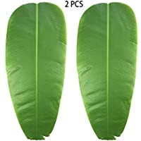 JYCRA hojas artificiales para plantas, hojas de plátano verde tropicales para decoración del hogar, cocina, fiesta, boda, juego de 2
