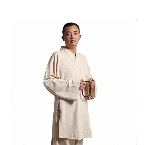 ZooBoo Men's Cotton and Linen Hanfu Suit Monk Uniforms Kungfu Clothes Martial Arts Clothing Arhat Suits (Beige, M)