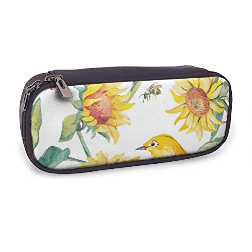 Pencil Case Pen Bag,Watercolor White Eye Bird and Sunflower,Large Capacity Pen Case Pencil Bag Stationery Pouch Pencil Holder Pouch with Big Compartments